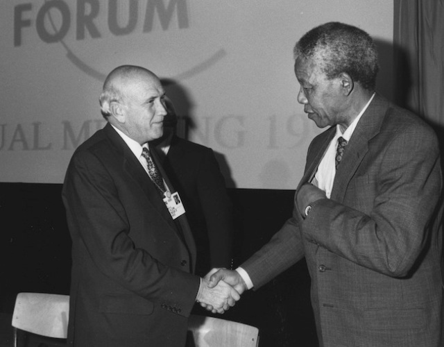 de Klerk, Mandela - World Economic Forum Annual Meeting 1992
